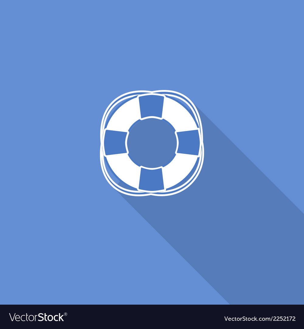 Flat long shadow sea icon isolated on blue vector | Price: 1 Credit (USD $1)