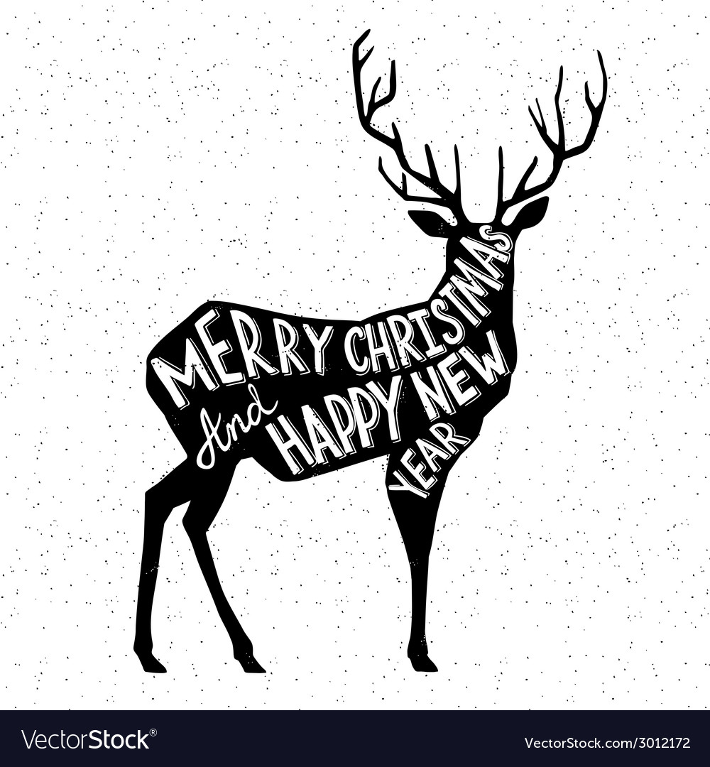 Hand drawn christmass deer vector | Price: 1 Credit (USD $1)