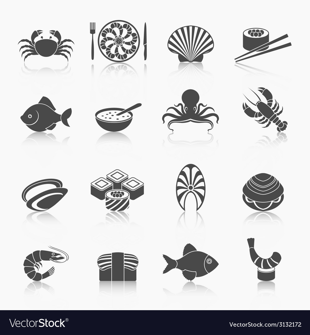 Seafood icons set black vector | Price: 1 Credit (USD $1)