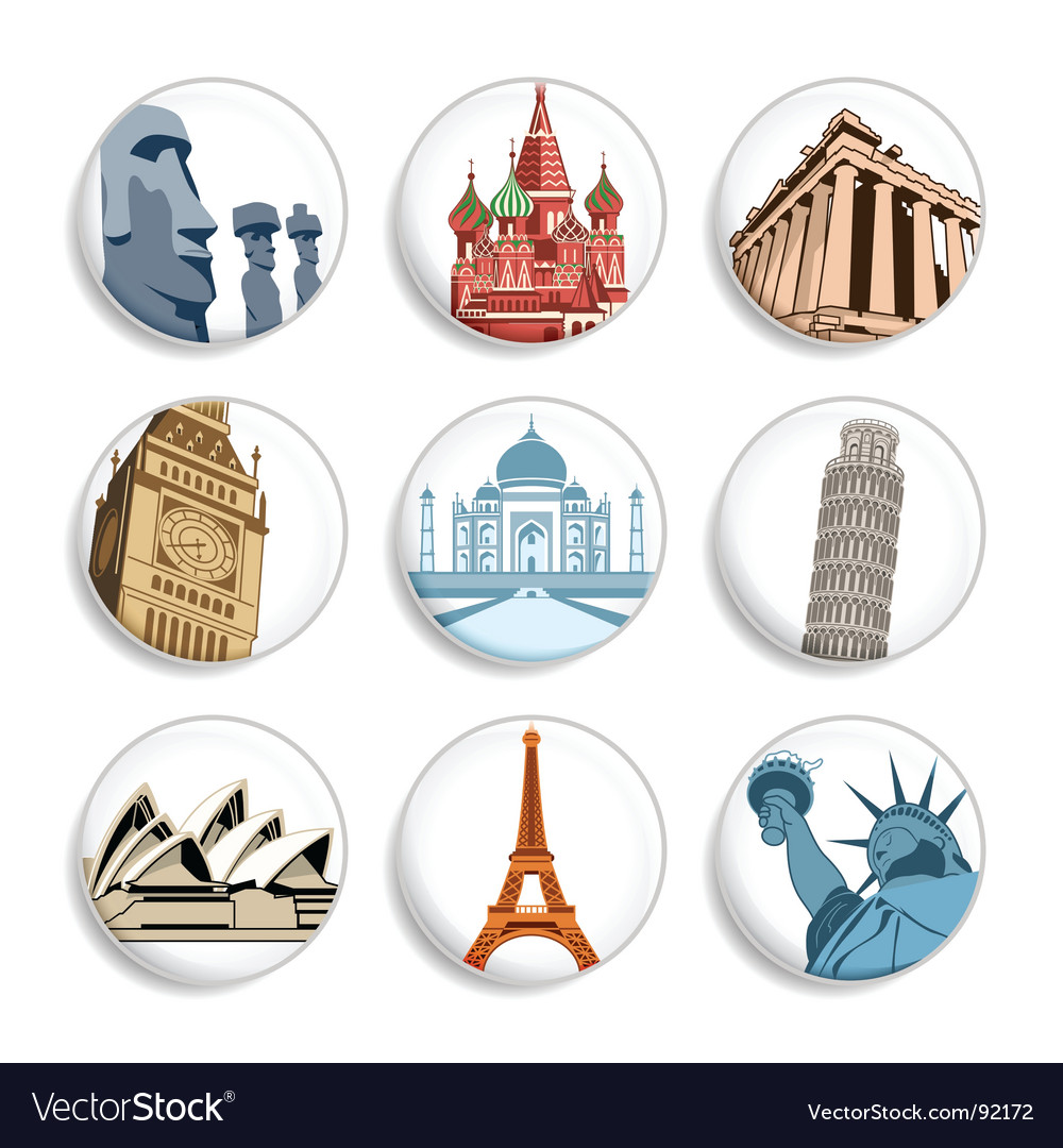 Travel destination badges vector | Price: 3 Credit (USD $3)