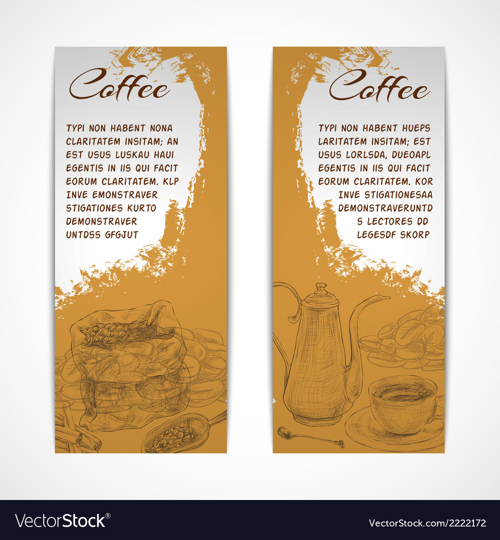 Vetical retro coffe set banners vector | Price: 1 Credit (USD $1)