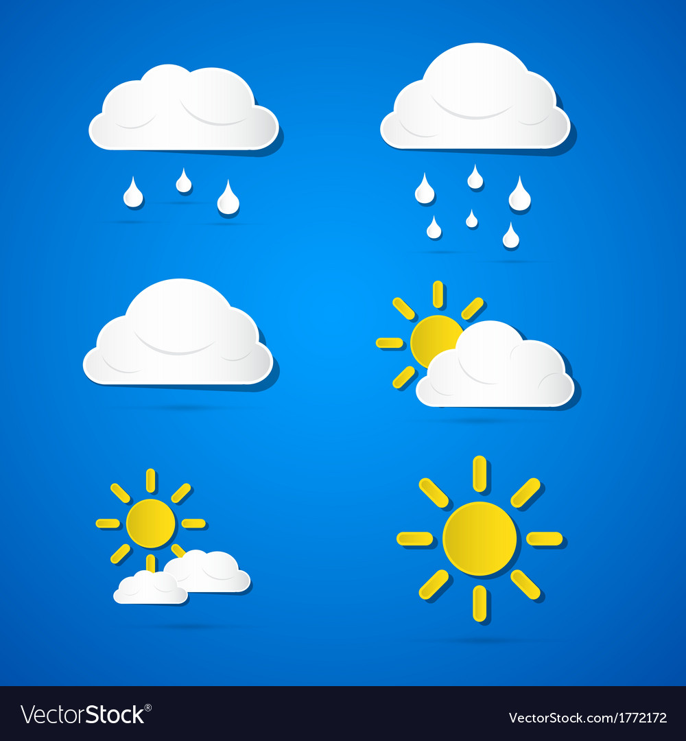 Weather icons - clouds sun rain on blue background vector | Price: 1 Credit (USD $1)