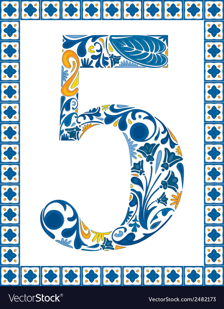Blue number 5 vector | Price: 1 Credit (USD $1)