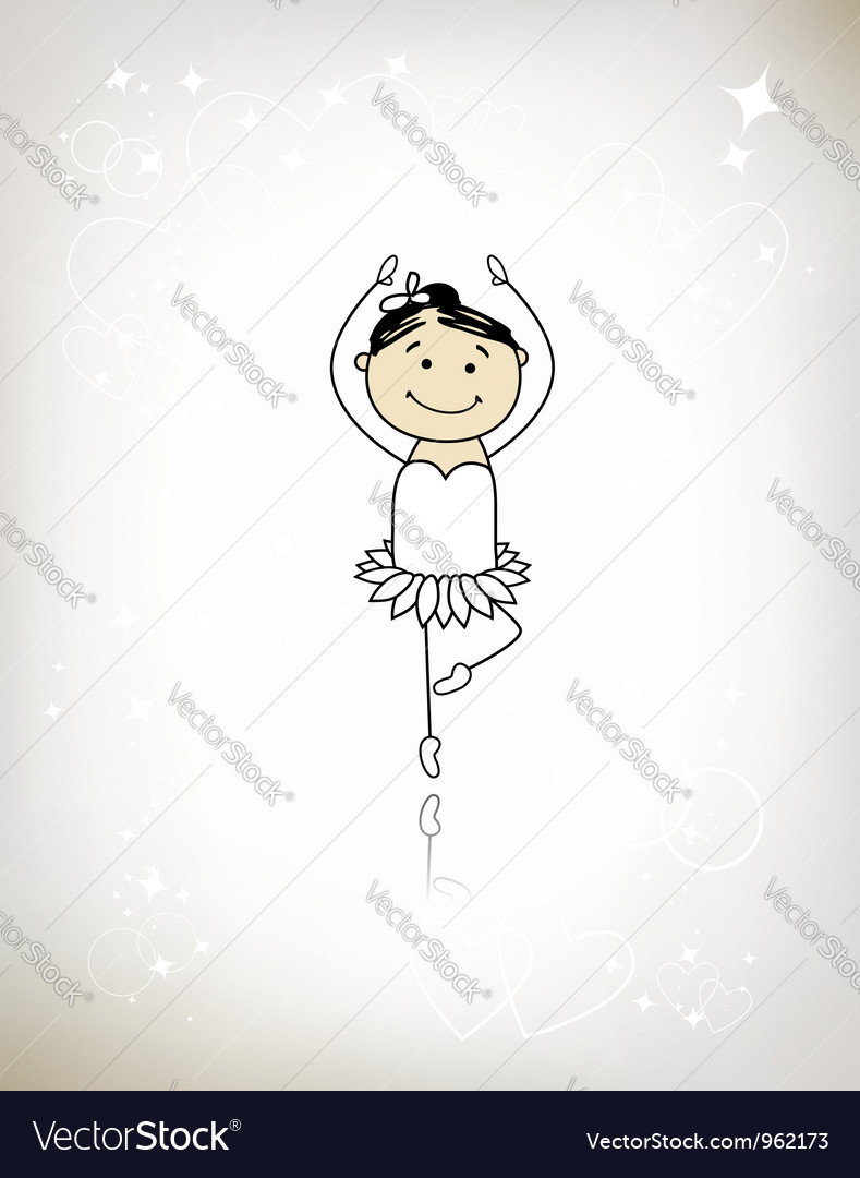 Cute little ballet dancer for your design vector | Price: 1 Credit (USD $1)