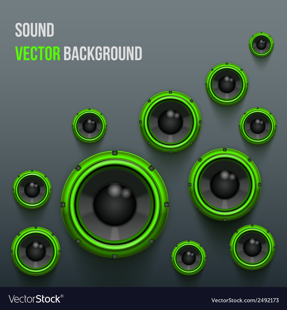 Green sound load speakers on dark background vector | Price: 1 Credit (USD $1)