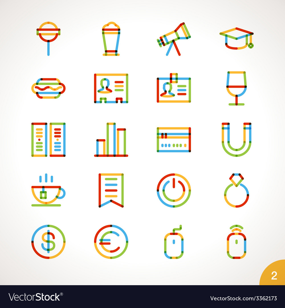 Highlighter line icons set 2 vector | Price: 1 Credit (USD $1)