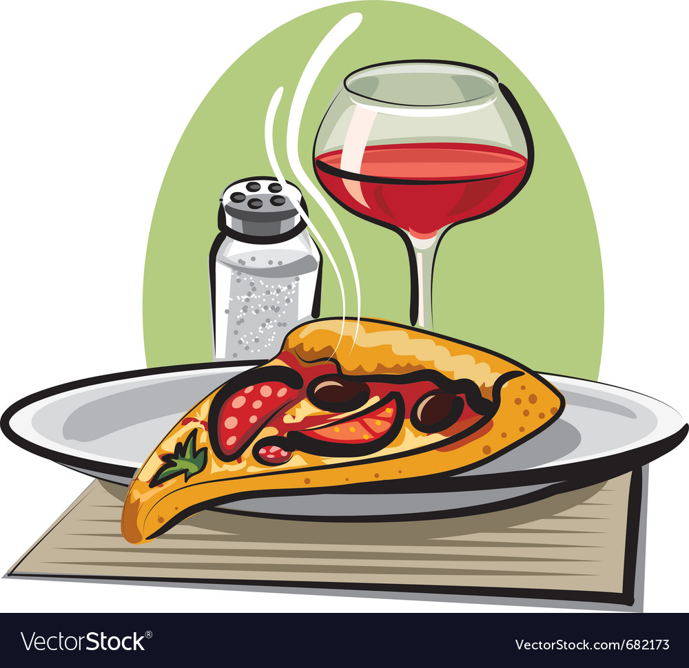 Hot pizza and wine vector | Price: 3 Credit (USD $3)