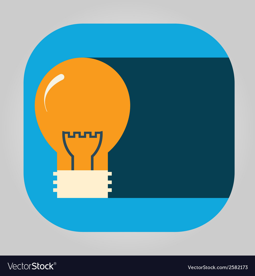 Icon glowing light bulb on a simple shield vector | Price: 1 Credit (USD $1)