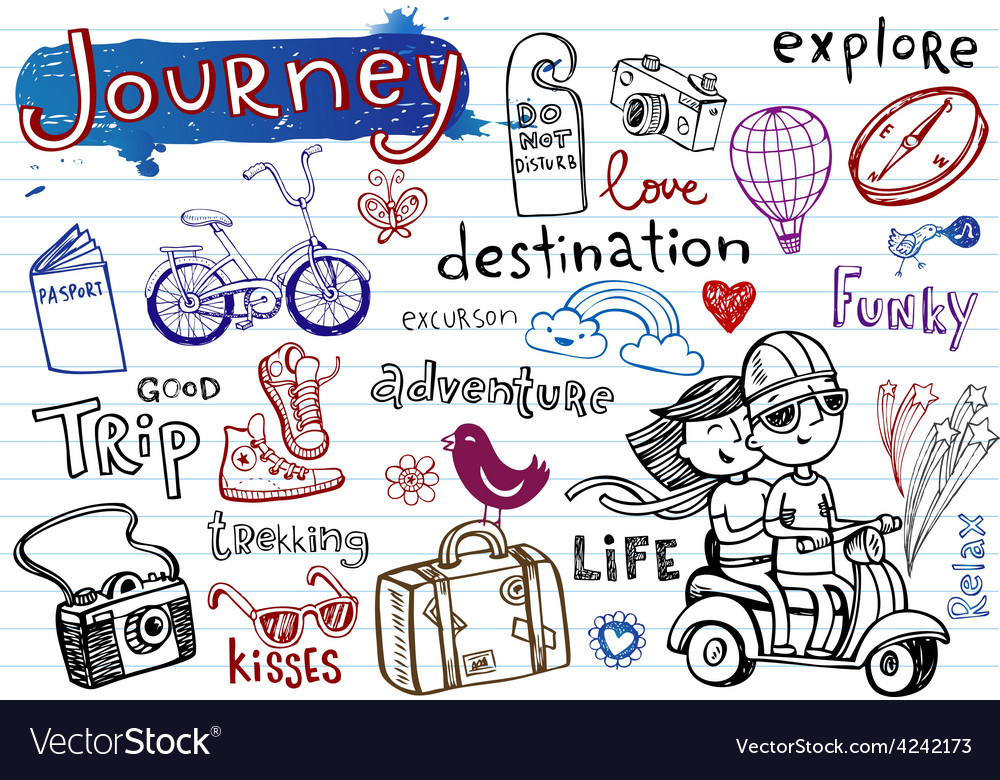 Journey set of funky doodles vector | Price: 1 Credit (USD $1)