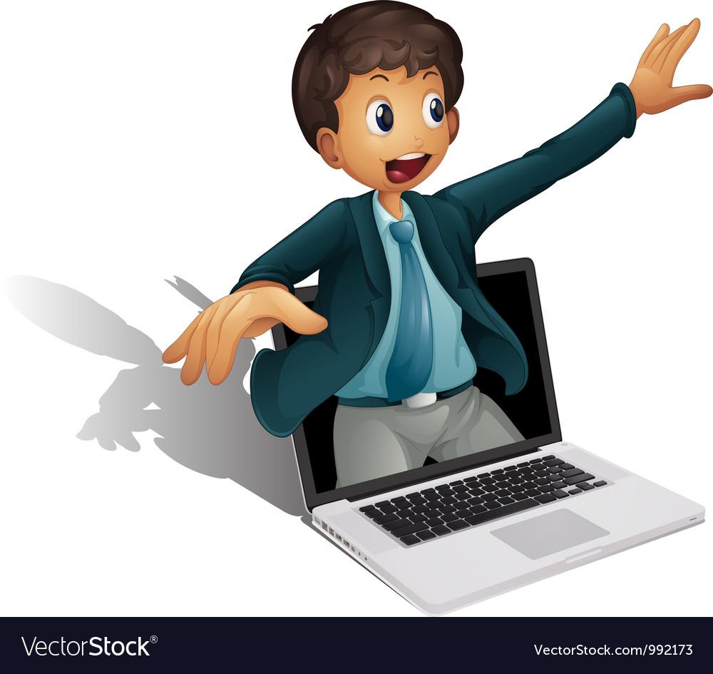 Laptop businessman vector | Price: 1 Credit (USD $1)