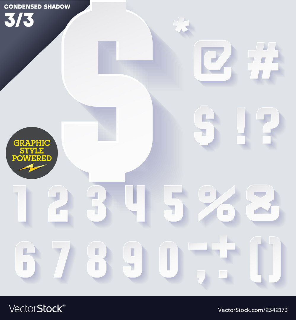 Modern flat alphabet with long ambient shadow vector | Price: 1 Credit (USD $1)