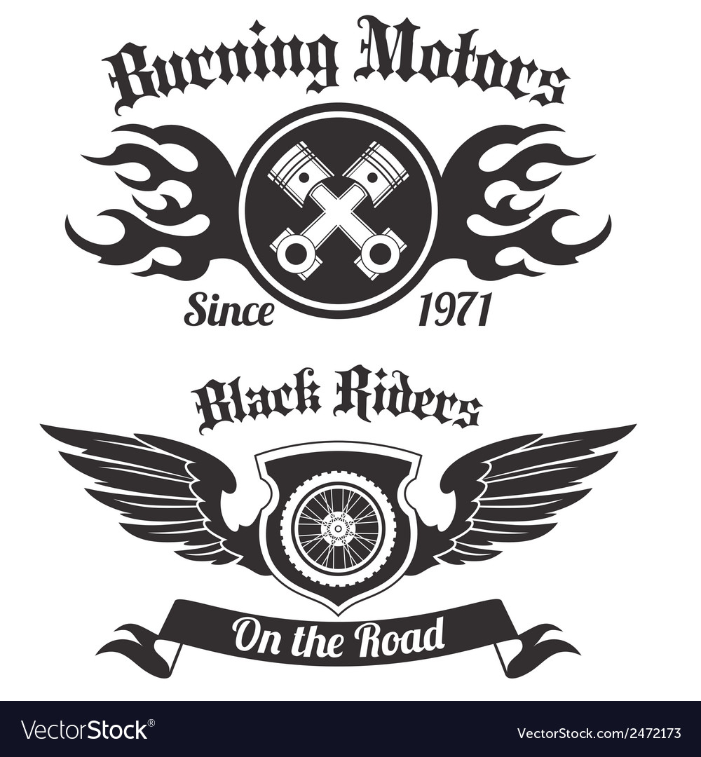 Motorcycle label black vector