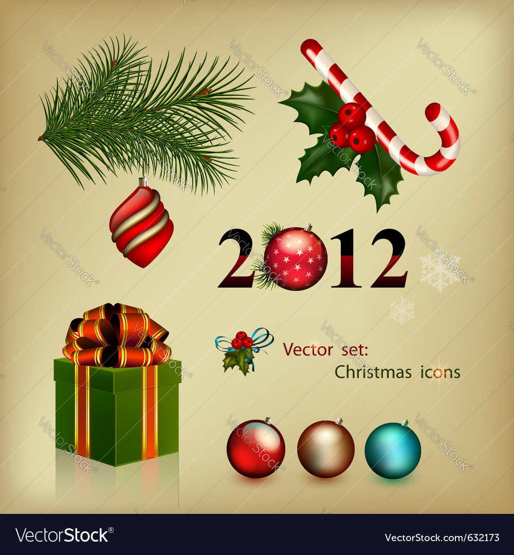 Set of elements christmas icons vector | Price: 1 Credit (USD $1)