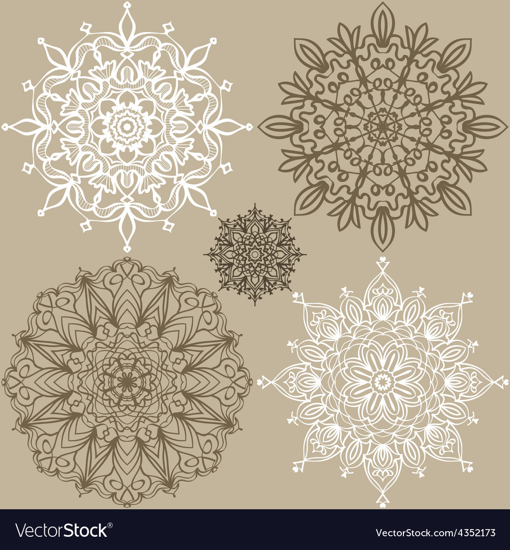 Set of round lace ornaments vector | Price: 1 Credit (USD $1)