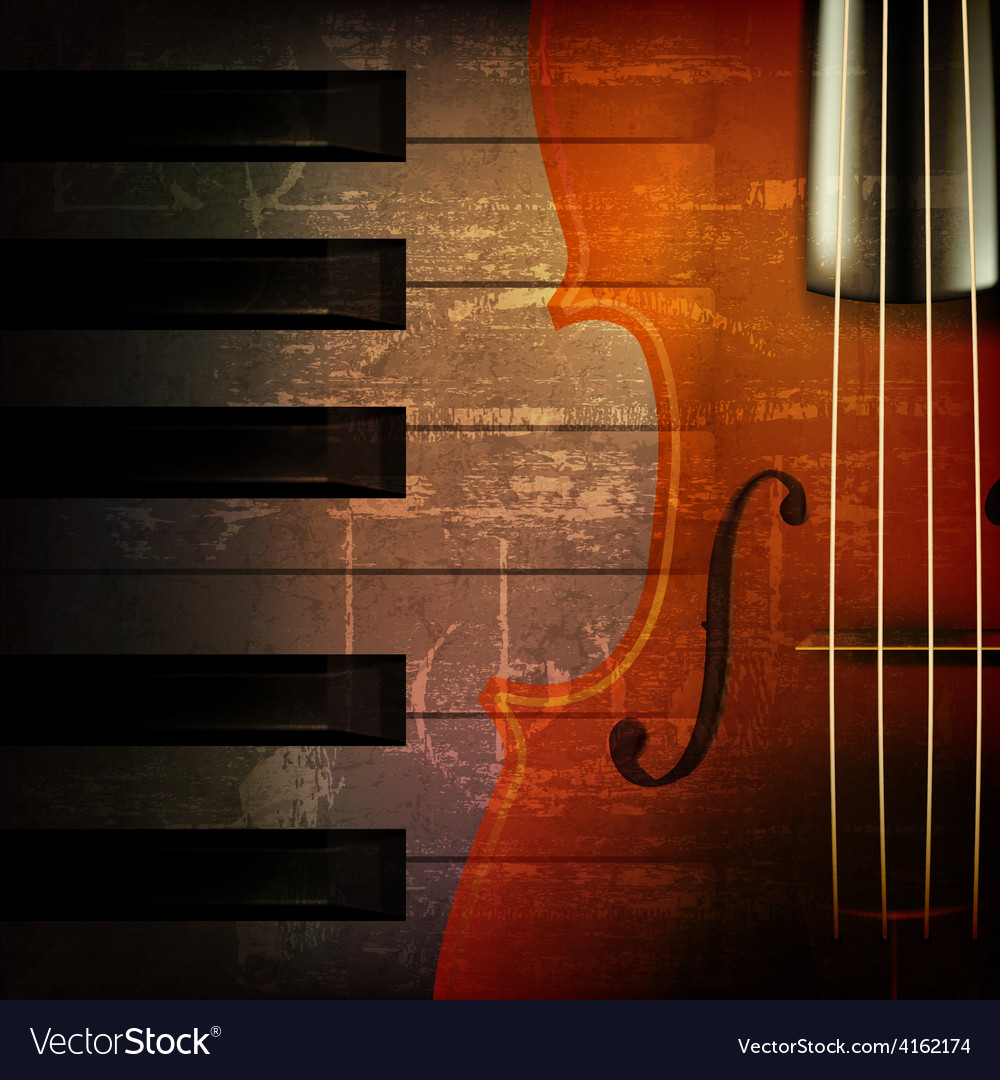 Abstract brown grunge music background with violin vector | Price: 3 Credit (USD $3)