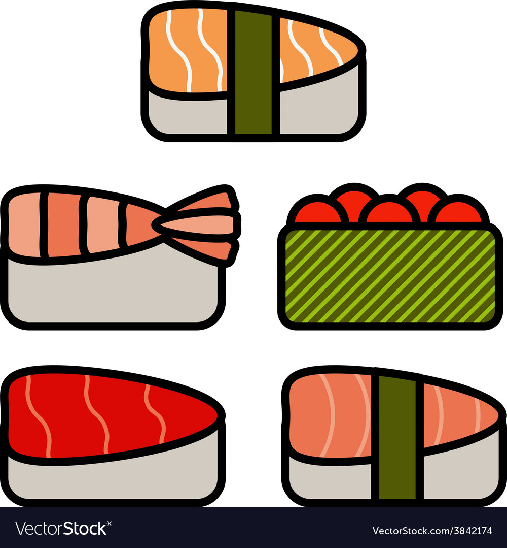 Asia food icon set with sushi rolls sashimi noodle vector | Price: 1 Credit (USD $1)