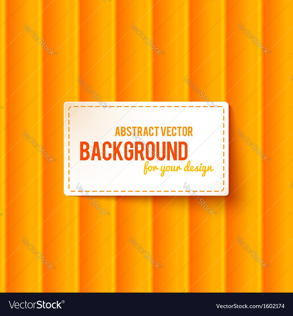 Bright orange stripes background with label vector | Price: 1 Credit (USD $1)
