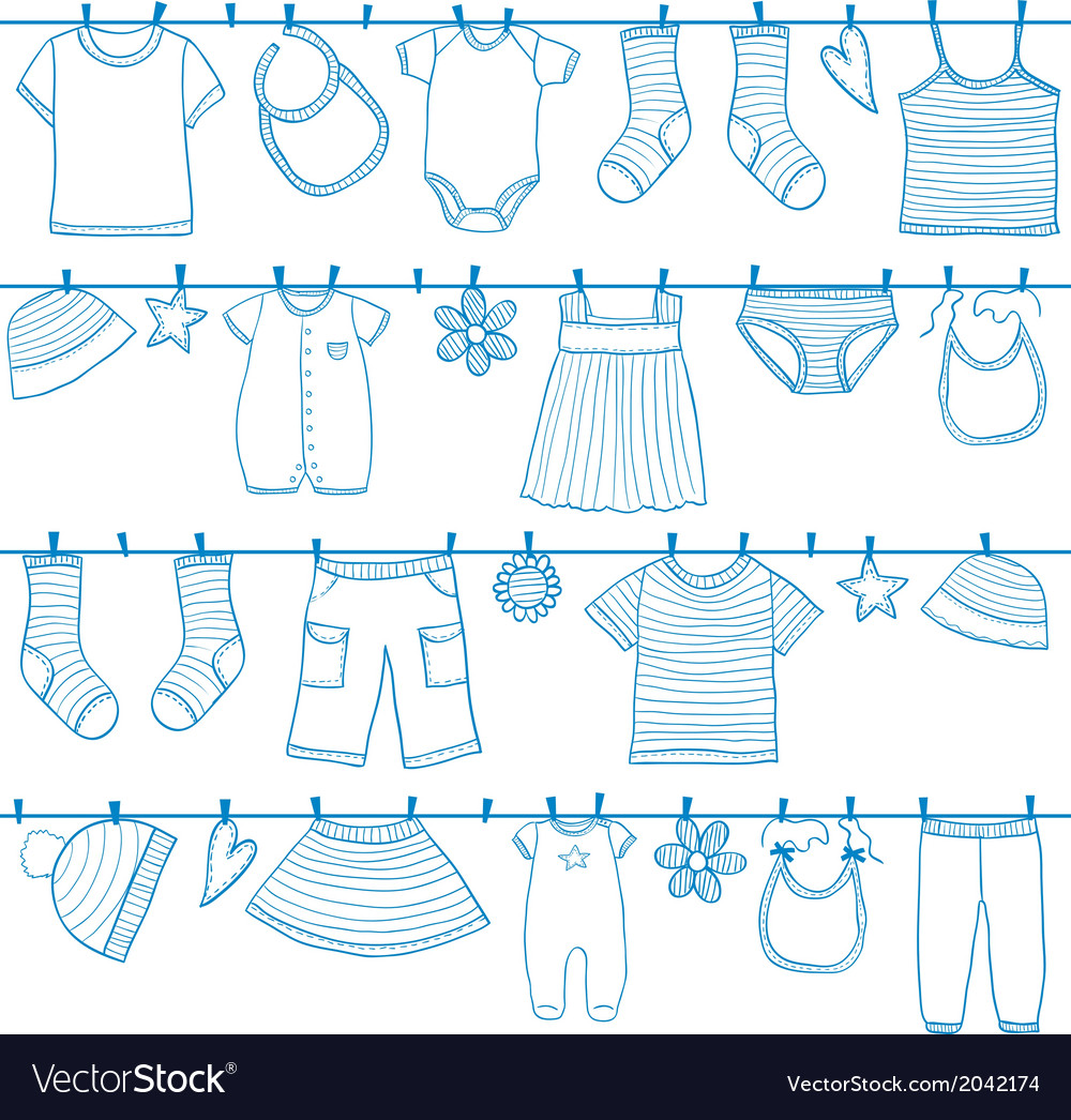 Children and baby clothes on clothesline vector | Price: 1 Credit (USD $1)