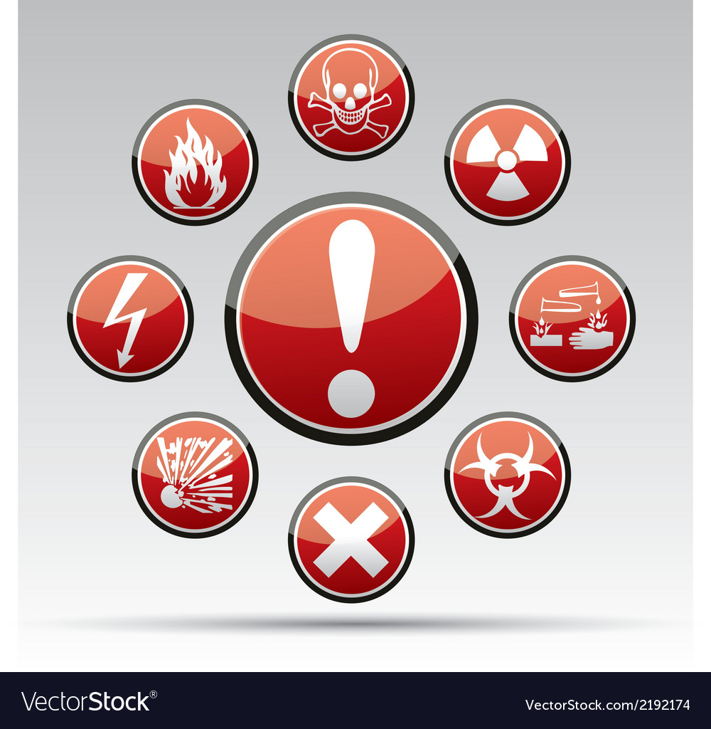 Circle danger hazard sign collection vector | Price: 1 Credit (USD $1)