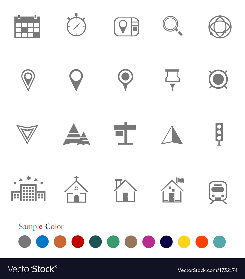 Collection icons set location icons vector | Price: 1 Credit (USD $1)