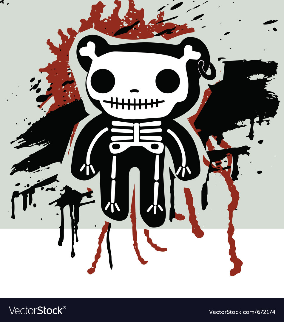 Grunge background with teddy in bones vector | Price: 1 Credit (USD $1)