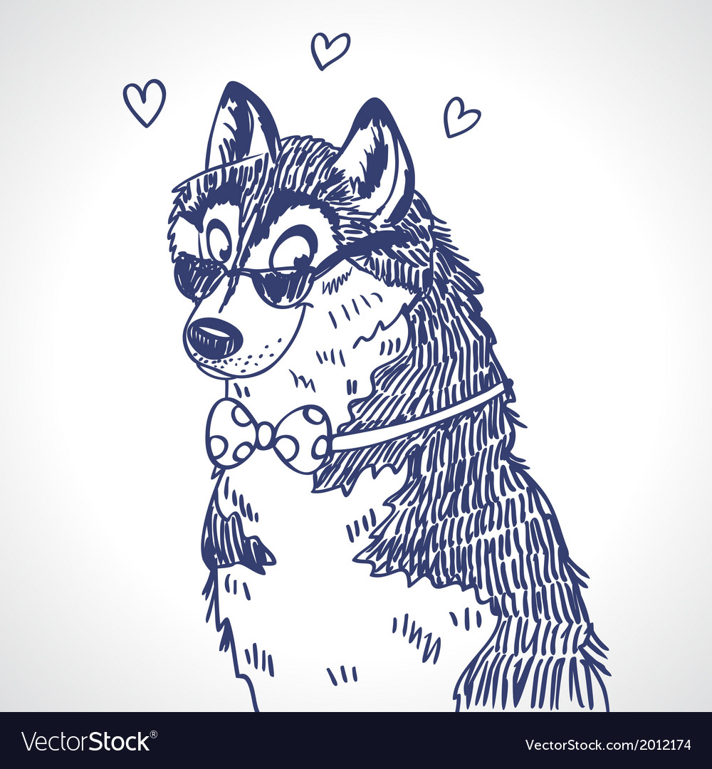 Husky sketch vector | Price: 1 Credit (USD $1)