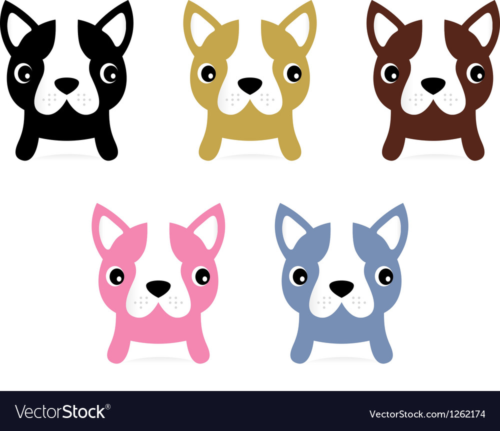 Little french buldog puppies set isolated on white vector