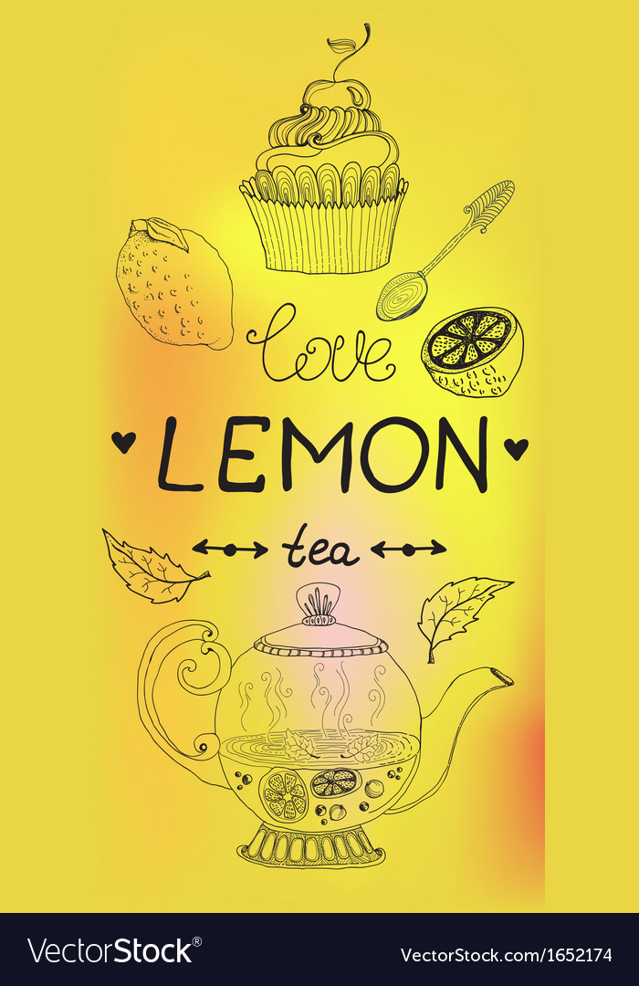 Love lemon tea card vector | Price: 1 Credit (USD $1)