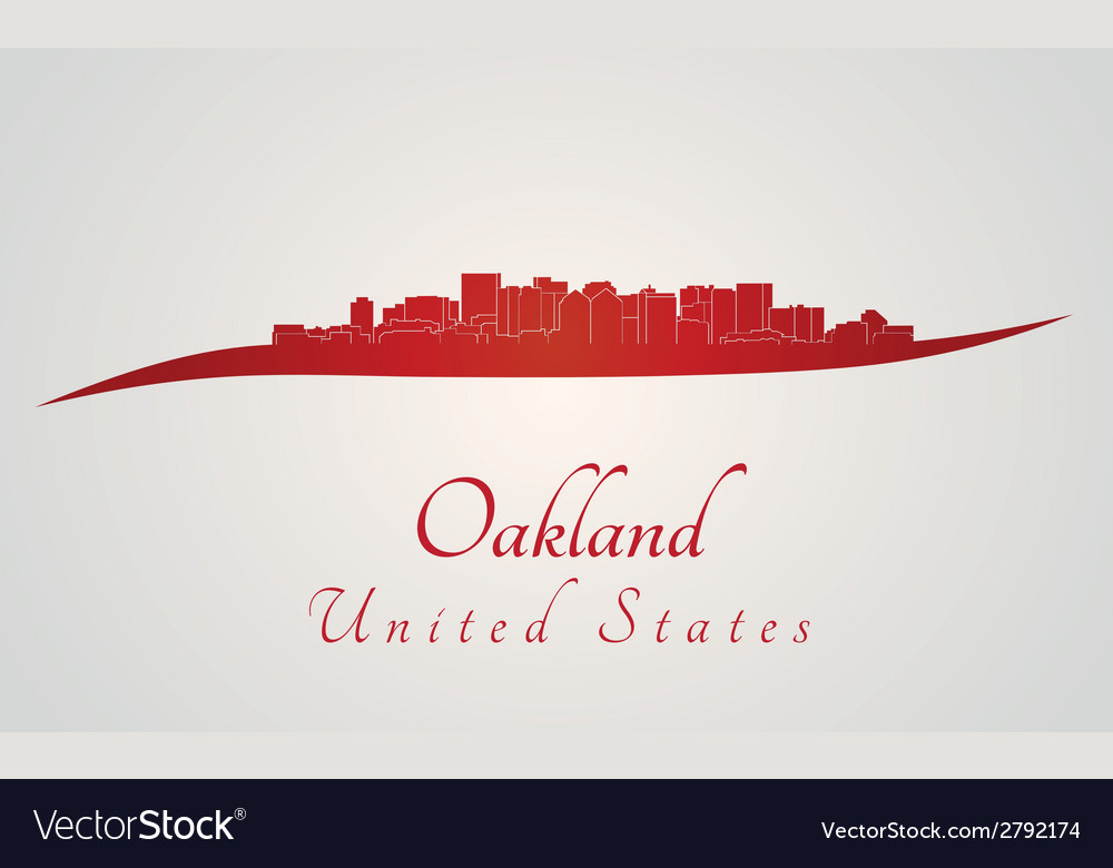 Oakland skyline in red vector | Price: 1 Credit (USD $1)