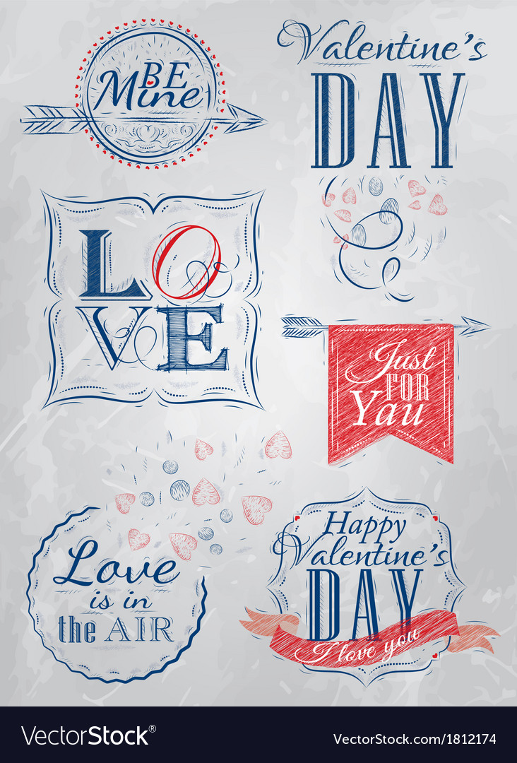 Set valentines day red blue vector | Price: 1 Credit (USD $1)