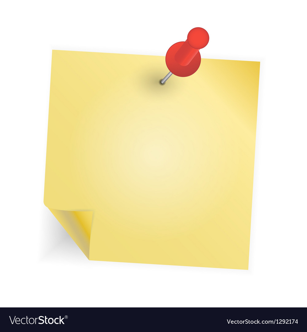 Yellow paper with pin on white background vector   Price: 1 Credit (USD $1)