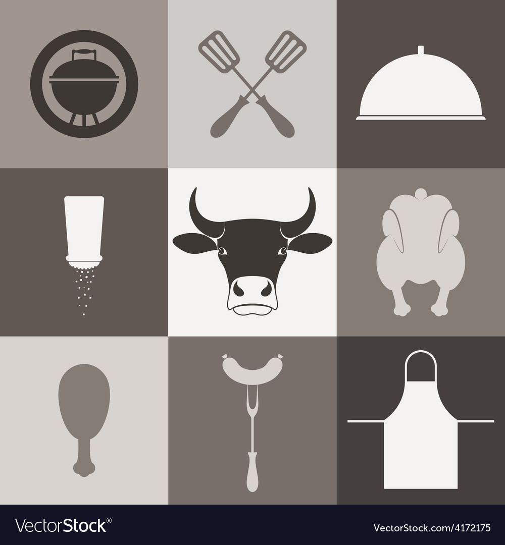 Barbecue grill icon set vector | Price: 1 Credit (USD $1)