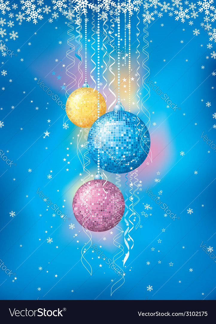 Blue card with christmas balls vector | Price: 1 Credit (USD $1)