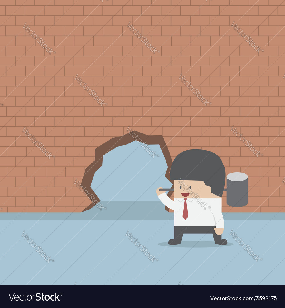 Businessman breaking the wall with hammer vector | Price: 1 Credit (USD $1)