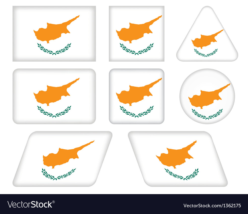 Buttons with flag of cyprus vector | Price: 1 Credit (USD $1)