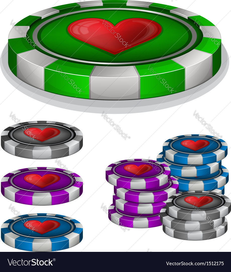 Casino chips with hearts sign vector | Price: 1 Credit (USD $1)