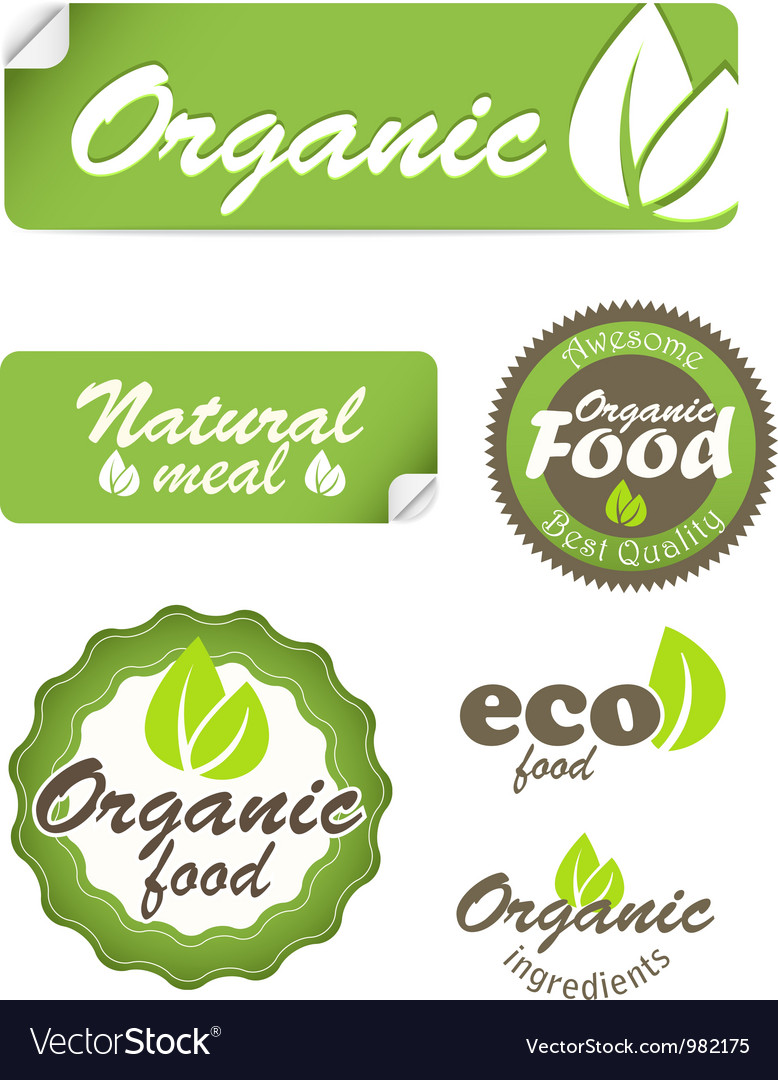 Eco food stickers isolated on white vector | Price: 1 Credit (USD $1)