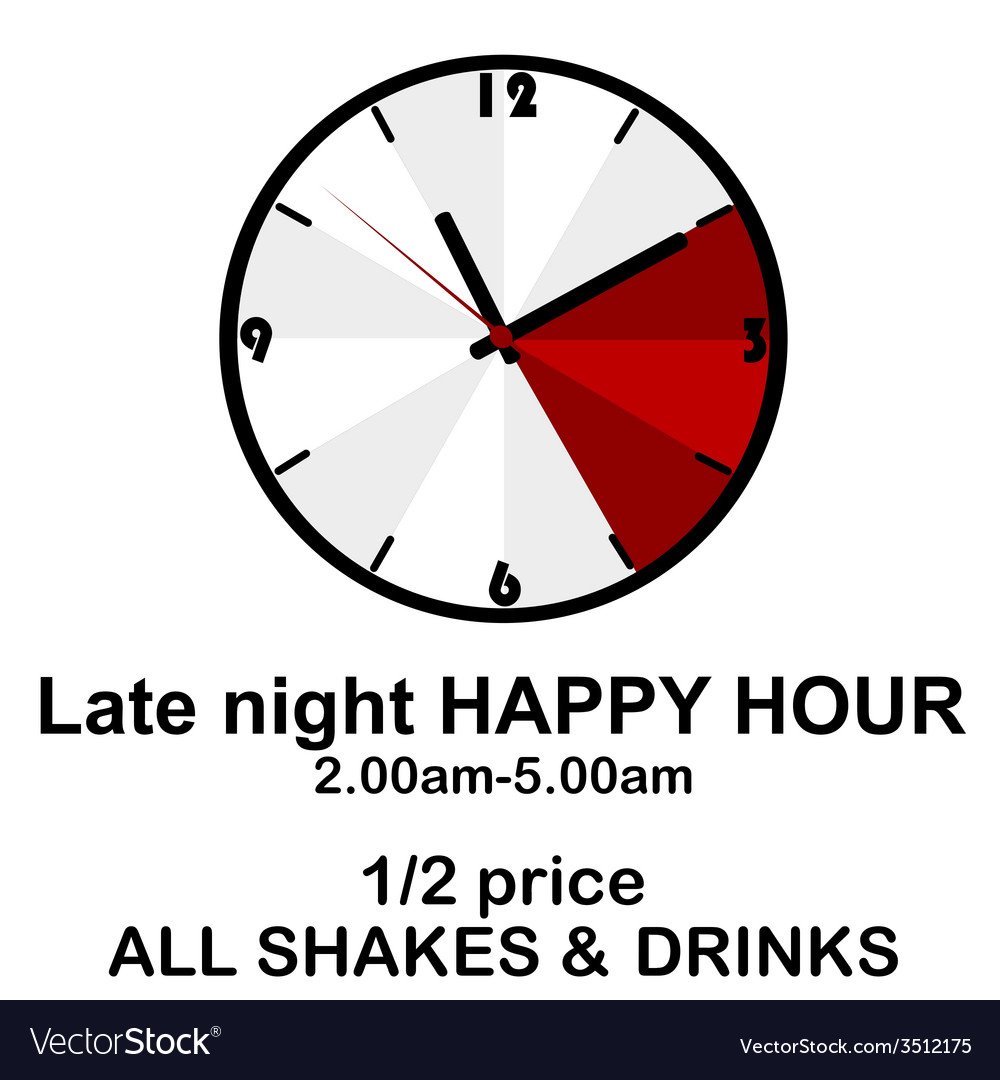 Happy hour concept with clock for pubs or clubs vector | Price: 1 Credit (USD $1)