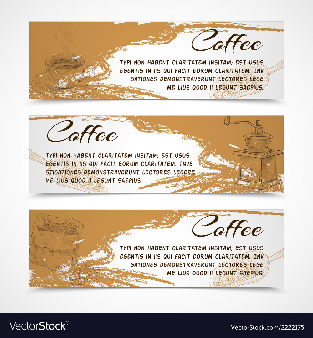 Horizontal retro coffee set banners vector | Price: 1 Credit (USD $1)