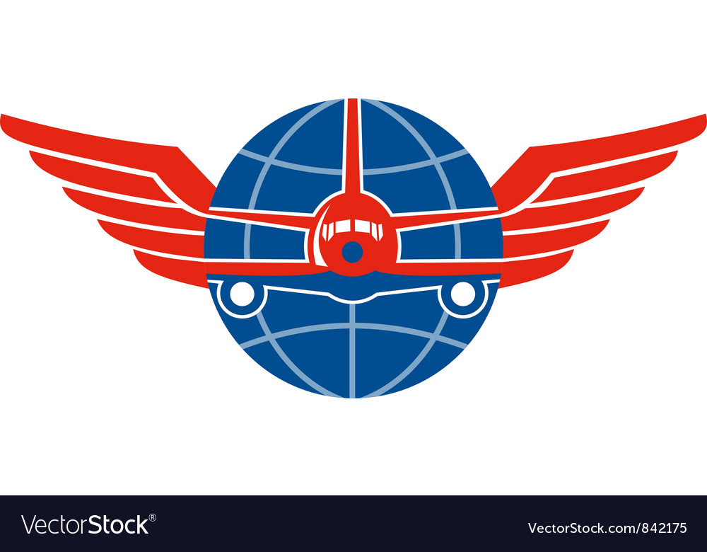 Jumbo jet plane front wings globe vector | Price: 1 Credit (USD $1)