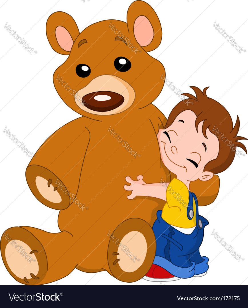 Kid hug bear vector | Price: 1 Credit (USD $1)