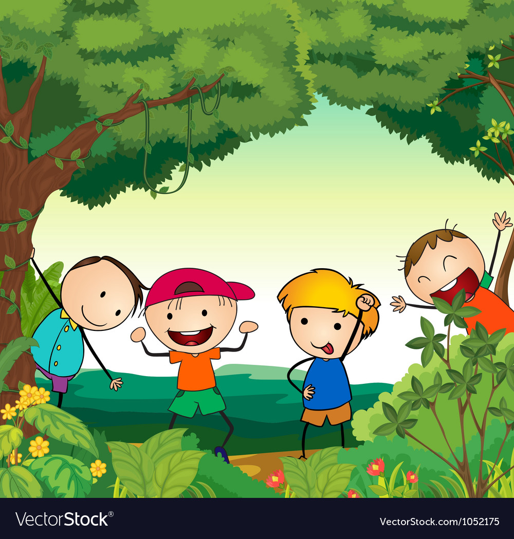 Kids in forest vector | Price: 1 Credit (USD $1)