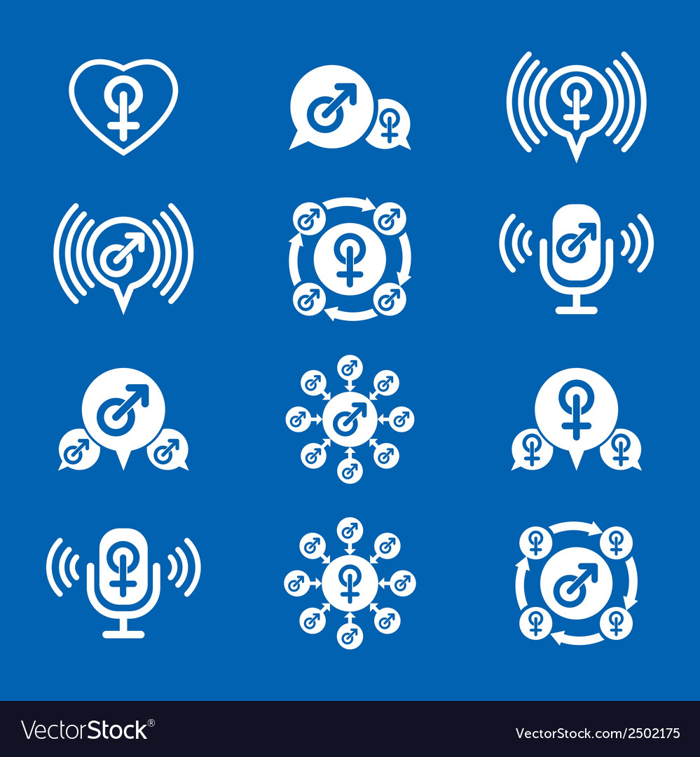 Male gender creative and unusual icons set symbols vector | Price: 1 Credit (USD $1)