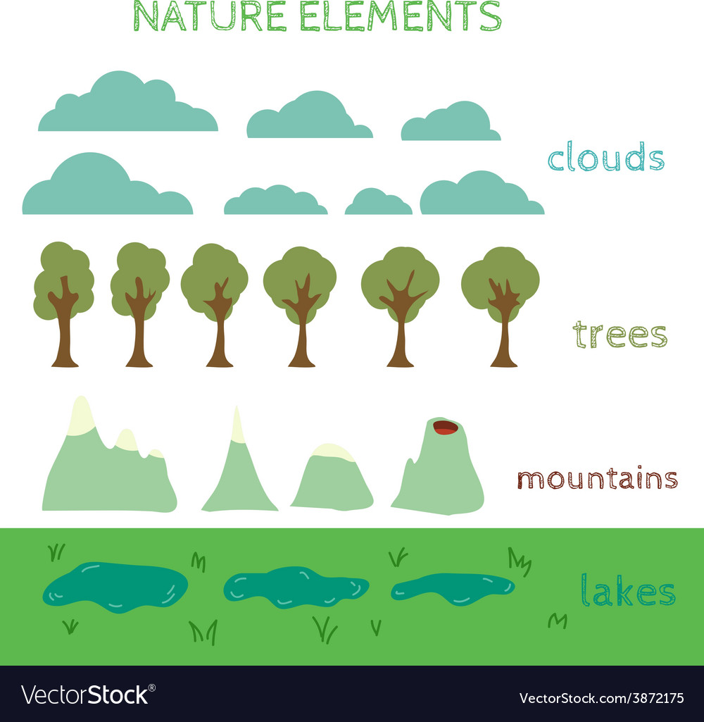 Nature design elements build your own landscape vector | Price: 1 Credit (USD $1)