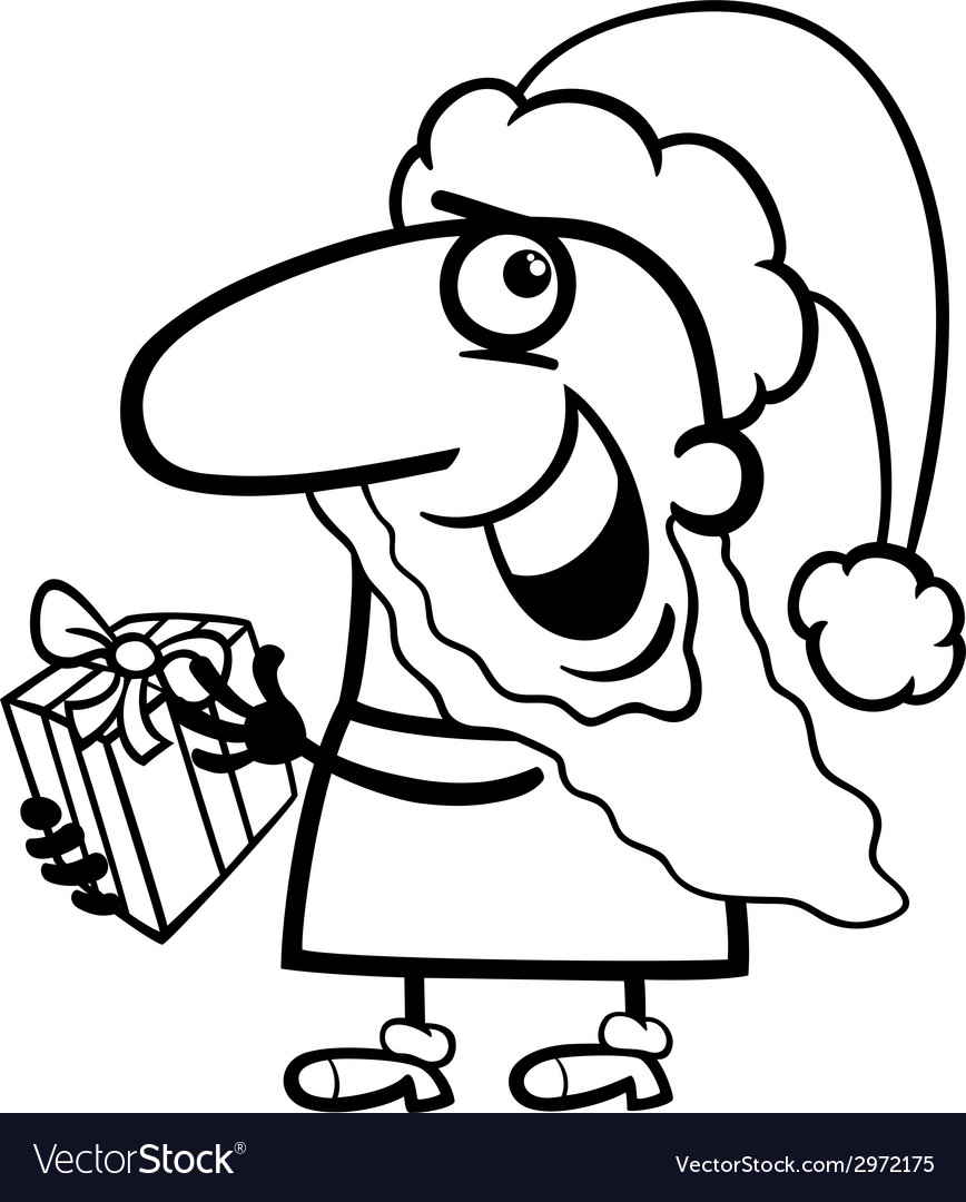 Santa with present coloring page vector | Price: 1 Credit (USD $1)