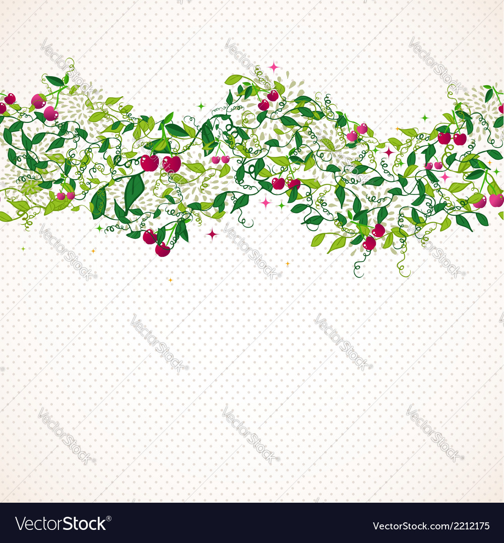 Seamless pattern garland with cherry vector | Price: 1 Credit (USD $1)