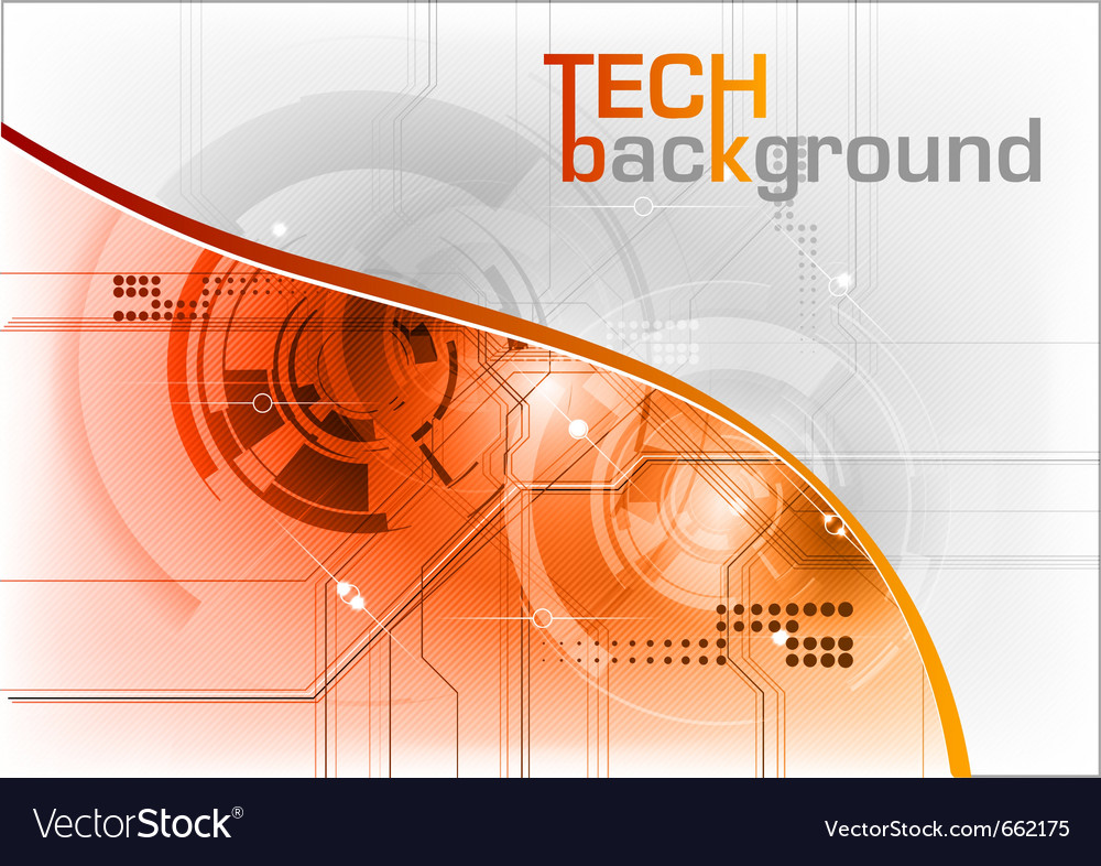 Technical background with orange line vector | Price: 1 Credit (USD $1)