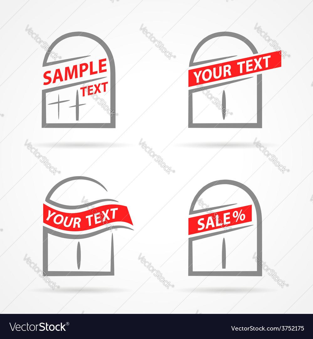 Windows set emblem label your text element icons vector | Price: 1 Credit (USD $1)