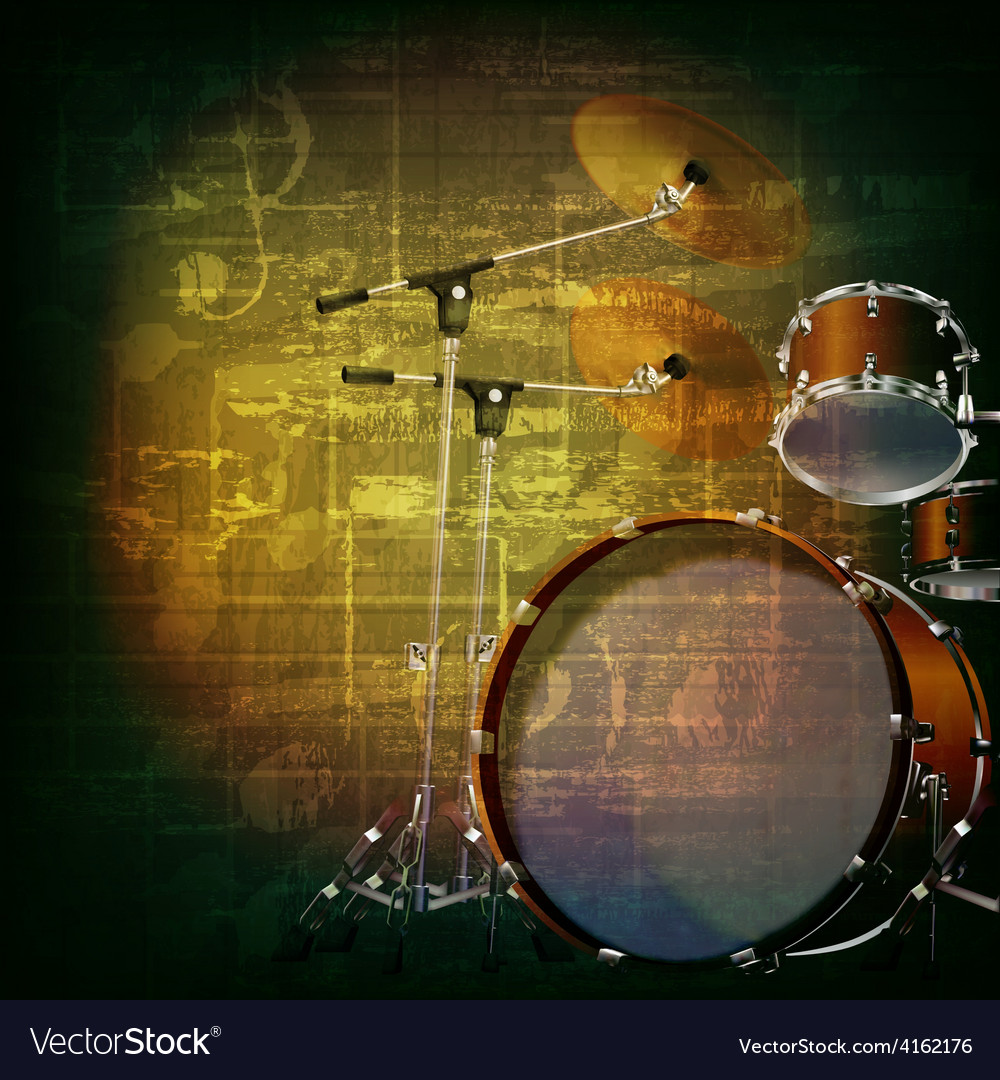 Abstract green grunge music background with drum vector | Price: 3 Credit (USD $3)