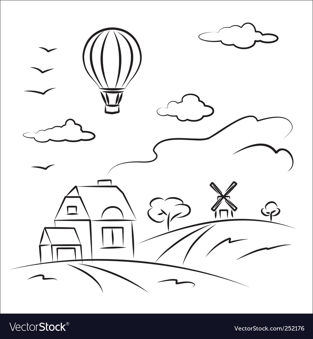 Balloon over the country vector | Price: 1 Credit (USD $1)